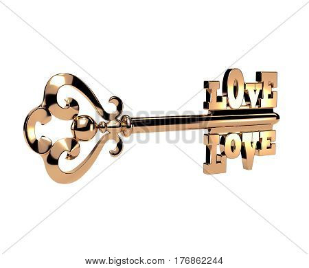 Abstract elegant 3D golden key with the word LOVE on white background. Isolated object