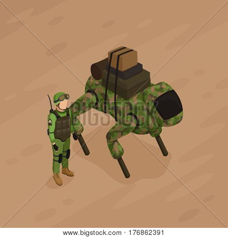 Robot soldier of khaki color with military freight and army fighter on sand background isometric vector illustration