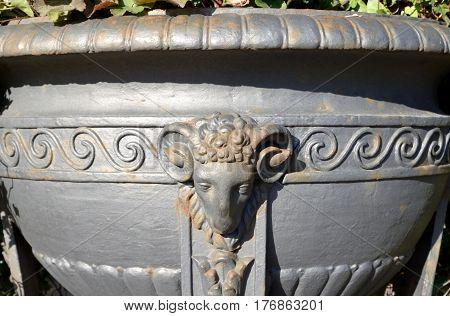 Metal vase in Summer garden in St.Petersburg Russia.