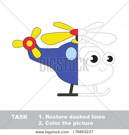 Restore the picture inside the contour. Simple educational game for kids. Restore dashed line and color the Funny Toy Copter.