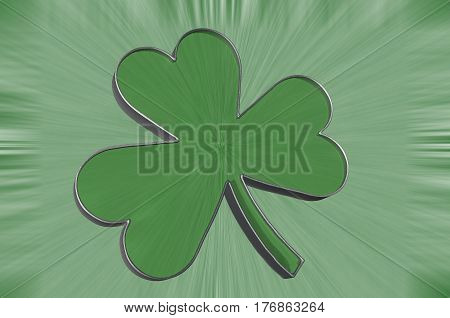 3D Illustration. A shamrock isolated against a green background