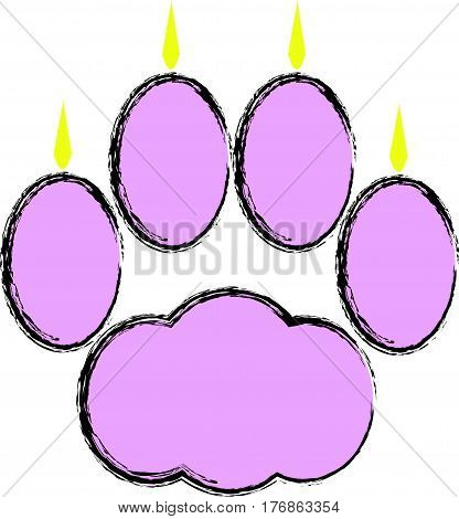 Pink cat paw with claws  on  white background. Vector illustration.