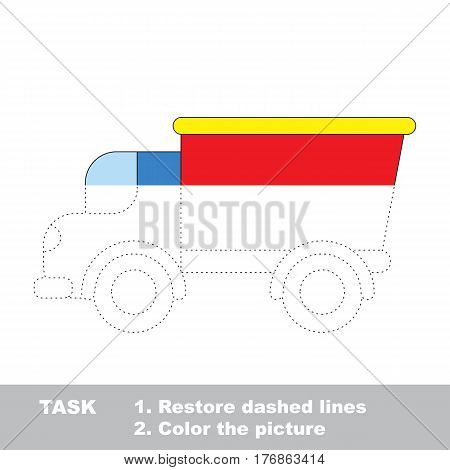 Lorry in vector to be traced. Restore dashed line and color the picture. The tracing game for preschool children with easy game level.