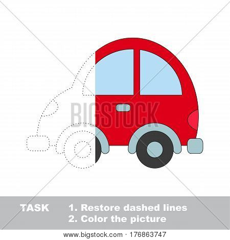 Car in vector to be traced. Restore dashed line and color the picture. The tracing game for preschool children with easy game level.