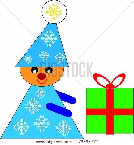 Christmas elf with gift on white background. Vector illustration.