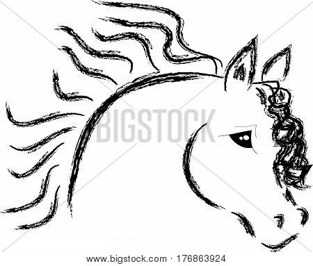 Horse head with flowing mane on white background. Vector illustration.