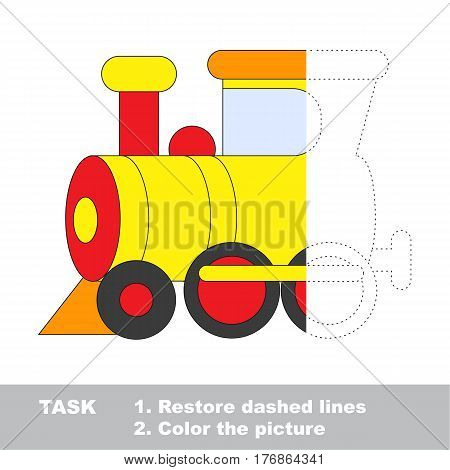 Yellow locomotive in vector to be traced. Restore dashed line and color the picture. The tracing game for preschool children with easy game level.