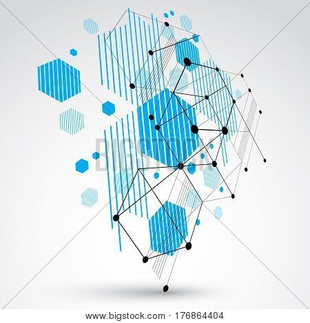 Bauhaus art 3d modular blue vector backdrop made using hexagons and circles. Retro style pattern perspective graphic backdrop for use as booklet cover template. Engineering system.
