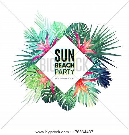 Bright floral design template for summer party. Tropical flyer with green exotic palm leaves and red flowers. Vector illustration.