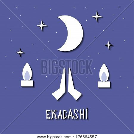 Ekadasi. the eleventh day. Hindu holiday. starry sky on a blue background. vector illustration.