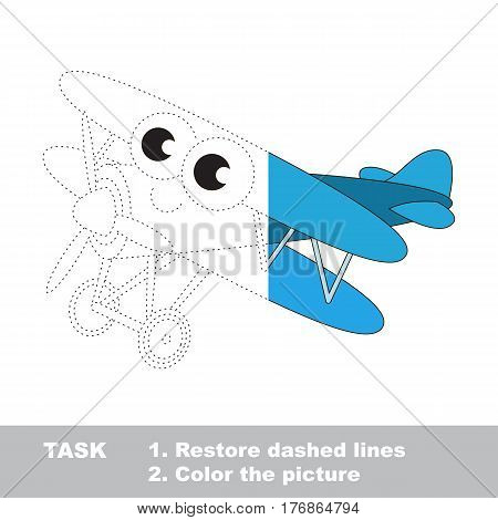 Toy biplane in vector to be traced. Restore dashed line and color the picture. Easy educational kid gaming with simple level of difficulty.