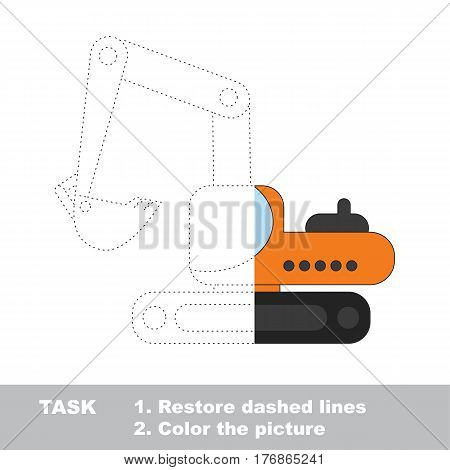 Construction orange excavator in vector to be traced. Restore dashed line and color the picture. The tracing game for preschool children with easy game level.