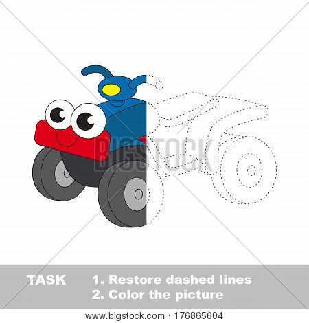 Toy quad bike in vector to be traced. Restore dashed line and color the picture. Easy educational kid gaming with simple level of difficulty.