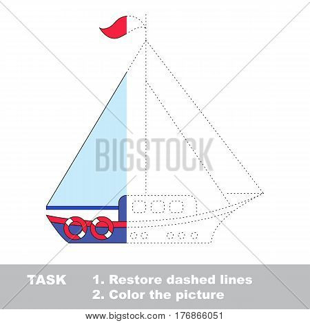 Yacht in vector to be traced. Restore dashed line and color the picture. The tracing game for preschool children with easy game level.
