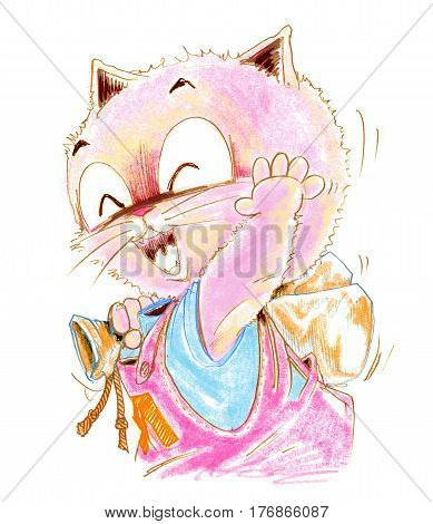 Cat backpacker cartoon character design pencil color hand drawing His hand moving acting symbol bye to you.