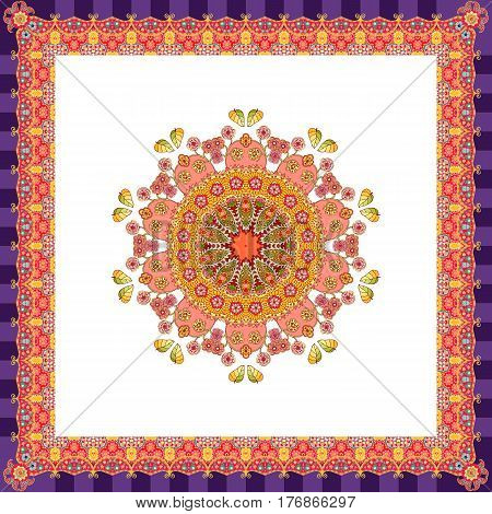 Scarf with flower - mandala on white background and bright ornamental border. Lovely tablecloth, greeting card, wrapping design, square rug in indian style.