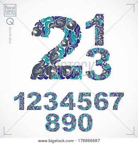 Floral Numerals, Hand-drawn Vector Numbers Decorated With Botanical Pattern. Blue Ornamental Numerat
