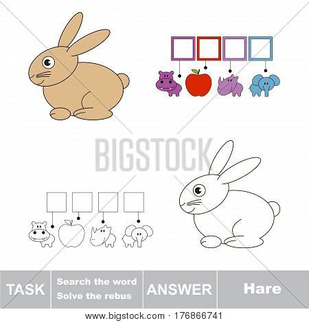 Vector rebus game for preschool kids with easy educational game level for kid education during gaming, find solution and write the hidden word in grid cells - Hare.
