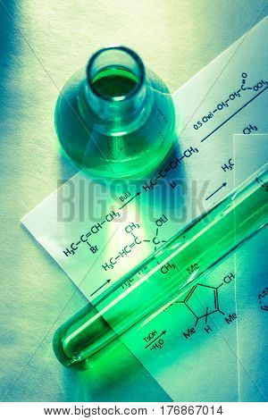 Chemical Tubes With Reaction Formula