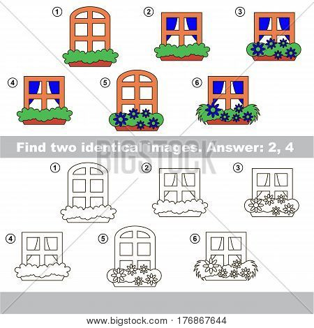 Educational kid matching game to find design difference, the task is to find similar Windows. The educational game for kids with easy game level. Compare objects and find two same Window.
