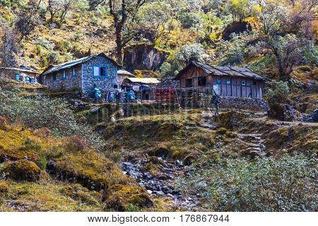 Stone Houses of small Himalaya village for lodging of hikers