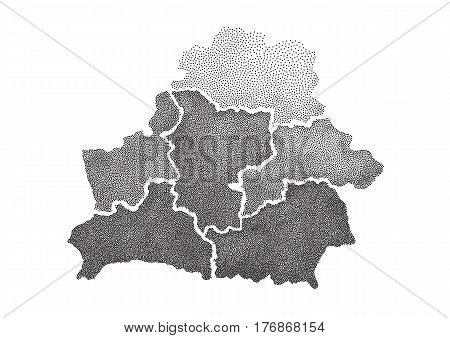 Hand drawn dotted map of Belarus. Isolated illustration map of Belarus on white background. Stylized dotwork vector illustration map of Belarus