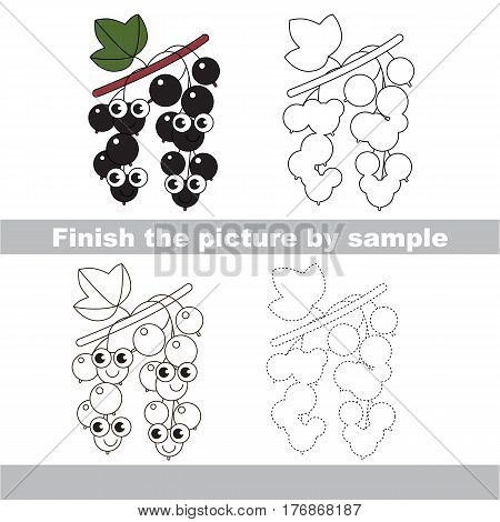 Drawing worksheet for children, the easy educational kid game with simple game level to educate preschool kids. Finish the picture and draw the funny Black Currant.