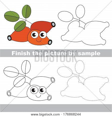 Drawing worksheet for children, the easy educational kid game with simple game level to educate preschool kids. Finish the picture and draw the funny Dog Rose.