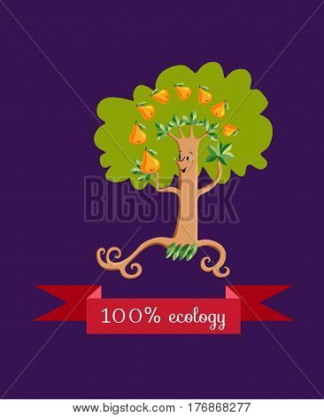 Unusual ecology icon. Merry fabulous pear tree juggling fruit on dark lilac background. Beautiful packaging for juice, jam, marmalade. Vector illustration.