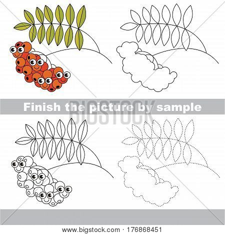 Drawing worksheet for children, the easy educational kid game with simple game level to educate preschool kids. Finish the picture and draw the funny Red Rowan.