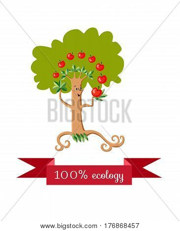 Unusual ecology icon. Merry fabulous apple tree juggling fruit on white background. Beautiful packaging for juice, jam, marmalade. Vector illustration.