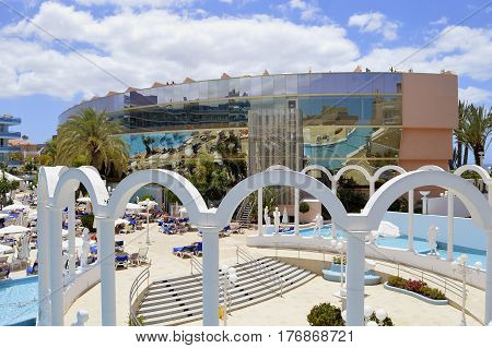 Playa De Las Americas Tenerife Canary Islands Spain Europe - June 18 2016: Cleopatra Palace Hotel part of the Mare Nostrum resort