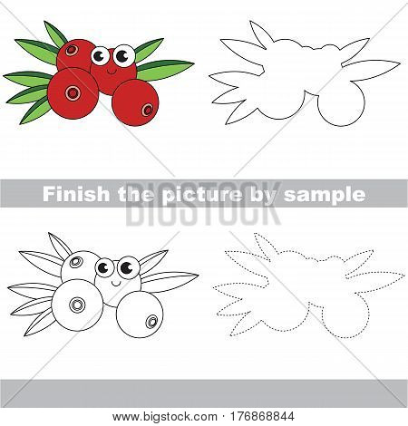 Drawing worksheet for children, the easy educational kid game with simple game level to educate preschool kids. Finish the picture and draw the funny Cranberry.