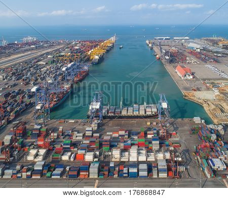 Logistic port vessel transportation and import export business with boat and crane