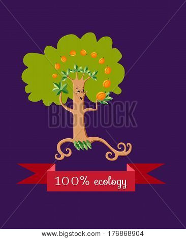 Unusual ecology icon. Merry fabulous apricot tree juggling fruit on dark lilac background. Beautiful packaging for juice, jam, marmalade. Vector illustration.