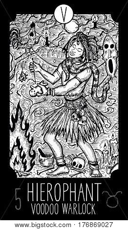 Hierophant. 5 Major Arcana Tarot Card. Voodoo warlock. Fantasy engraved line art illustration. Engraved vector drawing. See all collection in my portfolio set