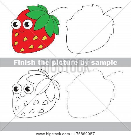 Drawing worksheet for children, the easy educational kid game with simple game level to educate preschool kids. Finish the picture and draw the funny Strawberry.