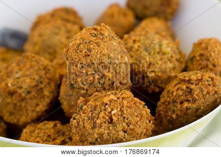 bowl of delicious fresh falafel fritters in bowl