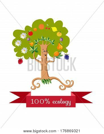 Unusual ecology icon. Merry fabulous fruit tree juggling fruit on white background. Beautiful packaging for multifruit juice, jam, marmalade. Vector illustration.