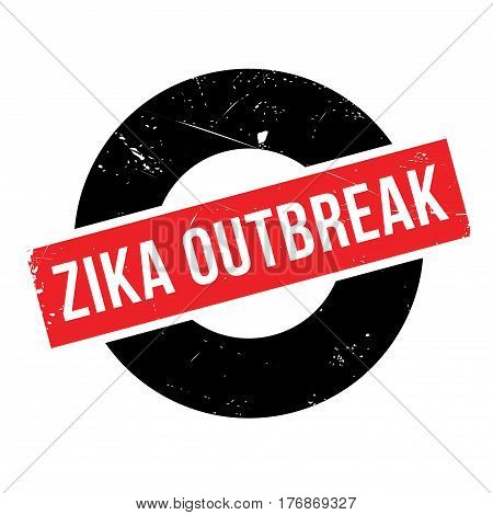 Zika Outbreak rubber stamp. Grunge design with dust scratches. Effects can be easily removed for a clean, crisp look. Color is easily changed.