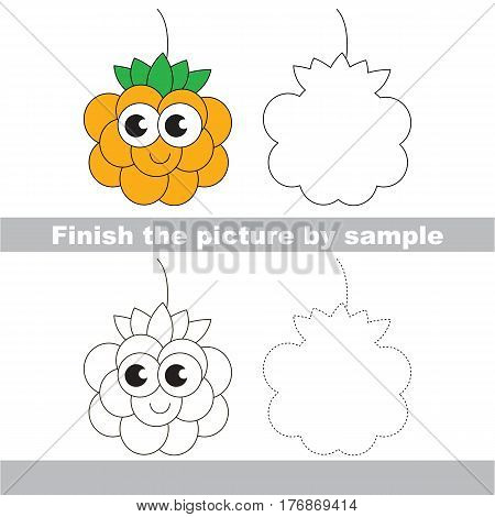Drawing worksheet for children, the easy educational kid game with simple game level to educate preschool kids. Finish the picture and draw the funny Yellow Cloud Berry.