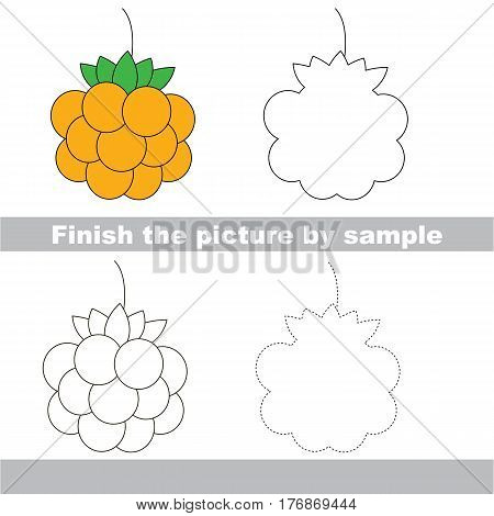 Yellow Cloud Berry to be finished, page to be completed to educate preschool kids with easy kid educational gaming and primary education of simple game level of difficulty.