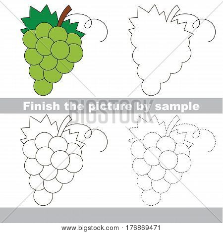White Grapes to be finished, page to be completed to educate preschool kids with easy kid educational gaming and primary education of simple game level of difficulty.