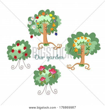 Unusual ecology icon. Merry fabulous fruit trees juggling fruit, raspberry bush and shrub roses on white background. Beautiful packaging for juice jam marmalade. Vector illustration. Garden.