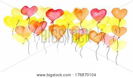 watercolor sketch of colorful ballons set in form of heart isolated on white background