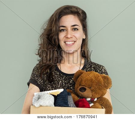 Woman Studio Casual Carrying a Box Isolated