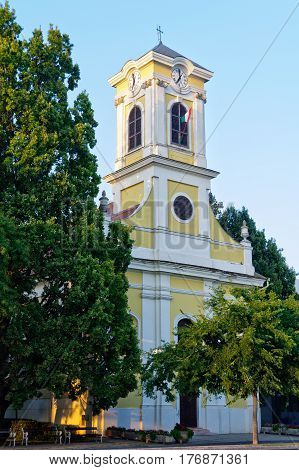The bell-tower of the St. Claire (Klara) Roman Catholic Church in Szarvas, Hungary