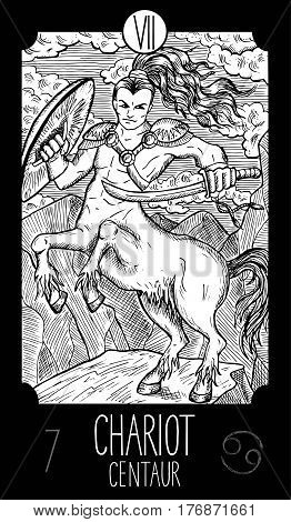 Chariot. 7 Major Arcana Tarot Card. Centaur. Fantasy engraved line art illustration. Engraved vector drawing. See all collection in my portfolio set