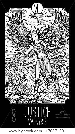 Justice. 8 Major Arcana Tarot Card. Valkyrie. Fantasy engraved line art illustration. Engraved vector drawing. See all collection in my portfolio set