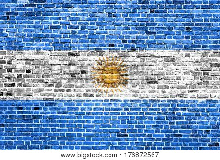 Flag of Argentina painted on brick wall, background texture
